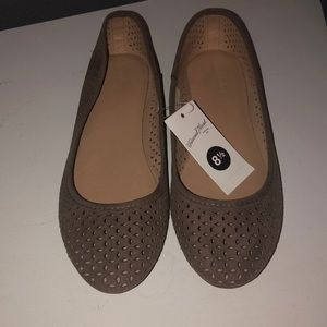 Brand New Brown Eyelet Flats